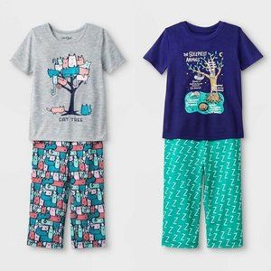 🆕 Cat & Jack Animal Pants & Tee Pajama Set 2 Pair